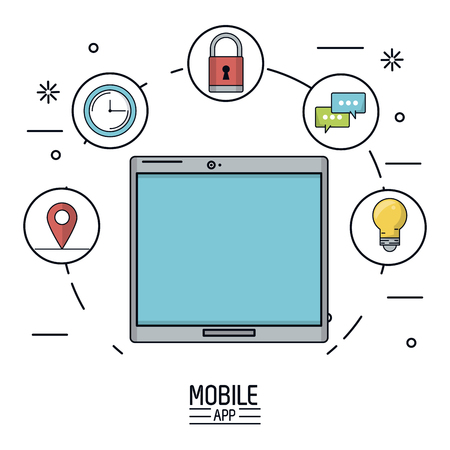wireless communication: white background poster of mobile app with tablet device and icons app of more use forming a circle vector illustration