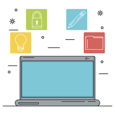 wireless communication: white background with laptop in closeup and icons apps in color squares vector illustration