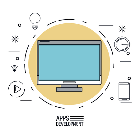 responsive: white background poster of apps development with desktop computer in beige circle and common icons around vector illustration Illustration