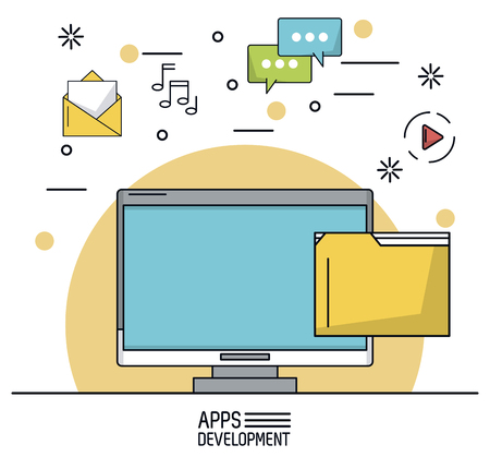 mobile app: white background poster of apps development with desktop computer and icons apps on top vector illustration