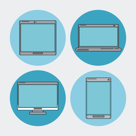 touch screen phone: white background with tech device as laptop and desktop computer and tablet and smartphone in blue circles vector illustration