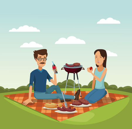 color scene landscape of tablecloth picnic and grill barbecue in grass with man and woman vector illustration