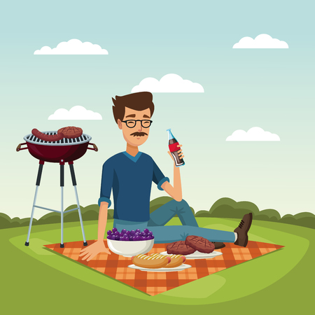 color scene landscape of grill barbecue with bearded man drinking a soda in tablecloth over grass vector illustration
