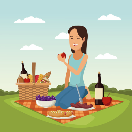 color scene landscape of picnic basket woman with apple in her hand vector illustration