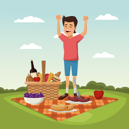 color scene landscape of picnic basket and boy happiness over tablecloth grass vector illustration Ilustrace