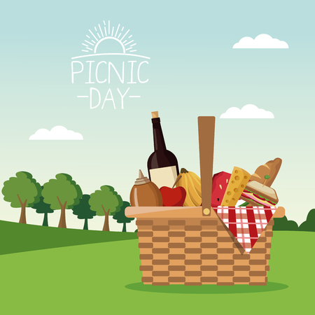 colorful poster scene landscape of picnic day and basket full of food vector illustration Çizim