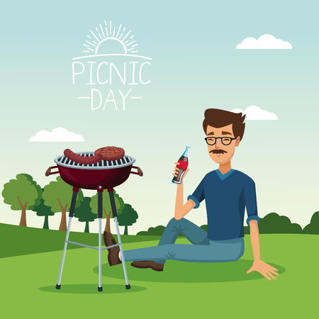colorful poster scene landscape of picnic day with grill barbecue with bearded man drinking a soda in grass vector illustration