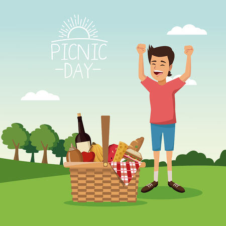 colorful poster scene landscape of picnic day with basket full food and boy happiness over tablecloth grass vector illustration Illustration