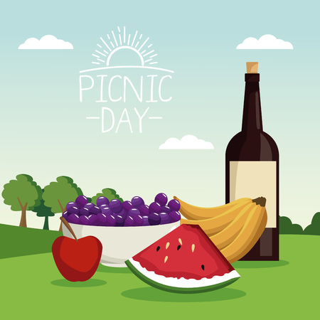 colorful poster scene landscape of picnic day with bottle wine and fruits in grass vector illustration