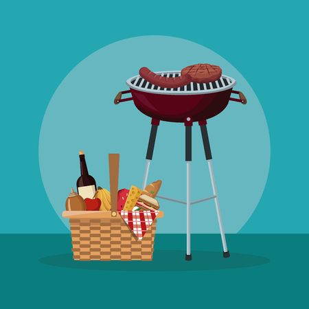 colo scene of picnic with food and beverages and grill barbecue vector illustration