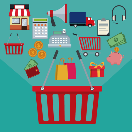 electronic commerce: color background with basket shopping with handle and online shopping elements vector illustration Illustration