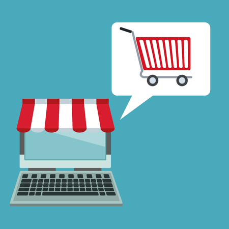 electronic commerce: color background with laptop computer store with awning and dialog box with cart shopping vector illustration