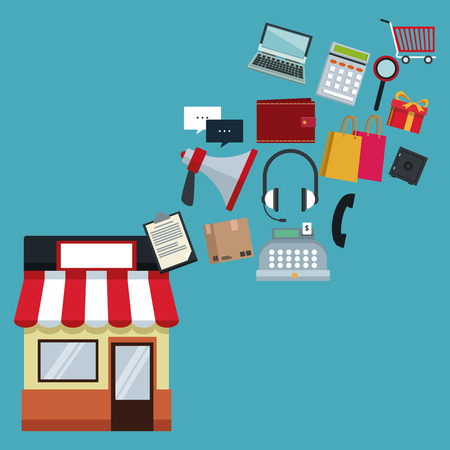 color background with store with awning and icons online shopping floating vector illustration