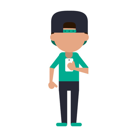 young man using phone icon image vector illustration design