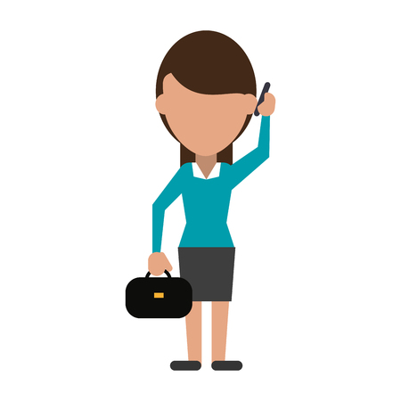 A business woman using phone icon image vector illustration design