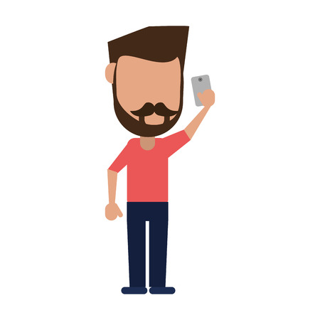 bearded man using phone icon image vector illustration design Illustration