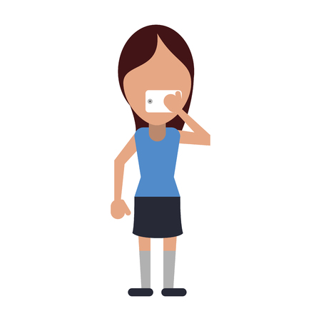woman using phone icon image vector illustration design Illustration