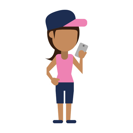 young woman using phone icon image vector illustration design Illustration