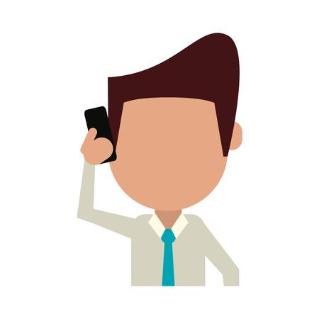 old telephone: businessman avatar using phone icon image vector illustration design Illustration