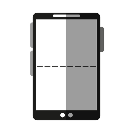 wireless communication: Smartphone with dotted line on screen icon image vector illustration design