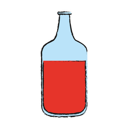 open bottle with red beverage con image vector illustration design