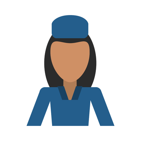 female flight attendant avatar icon image vector illustration design