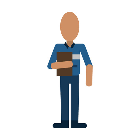 mailman with clipboard avatar delivery icon image vector illustration design Illustration