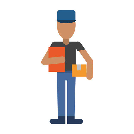 mailman avatar with clipboard and package icon image vector illustration design