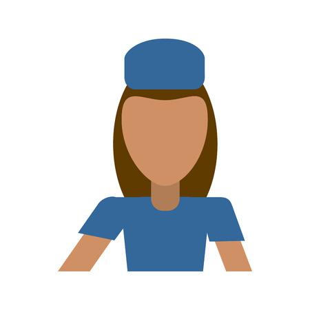 female flight attendant avatar icon image vector illustration design