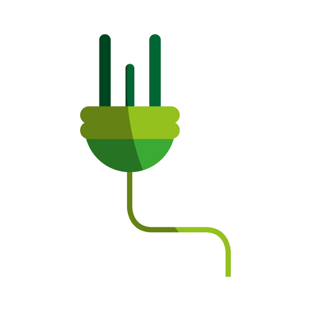 green environment: green plug and cord eco friendly icon image vector illustration design