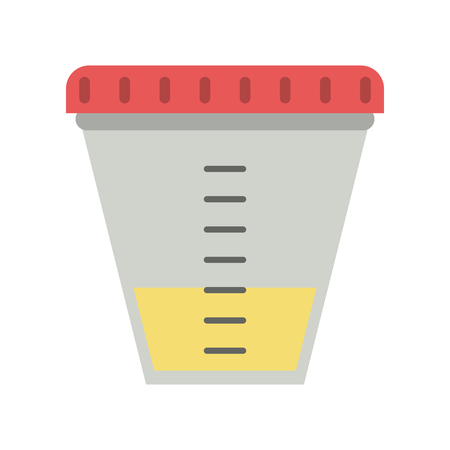 Urine sample cup healthcare related icon. Çizim