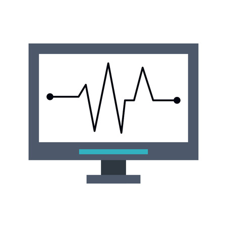 heart disease: electrocardiogram on computer screen healthcare related icon image vector illustration design