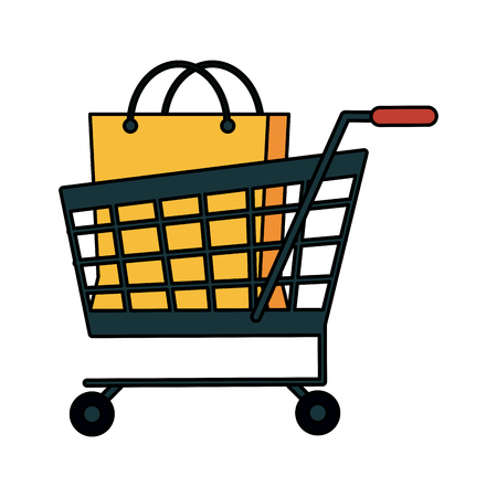 gift basket: A shopping cart with bag vector illustration design icon image.