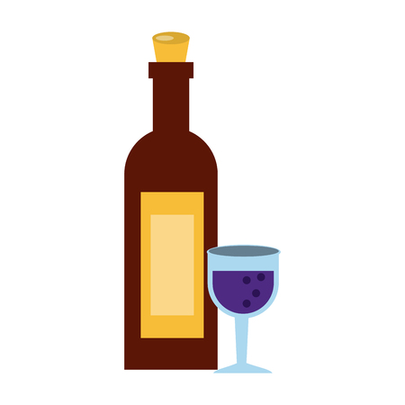 A wine bottle with glass icon image vector illustration design.