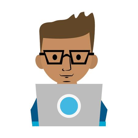 film industry: A man using computer icon image vector illustration design. Illustration
