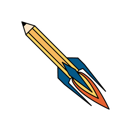 pencil with eraser rocket  icon image vector illustration design Ilustração