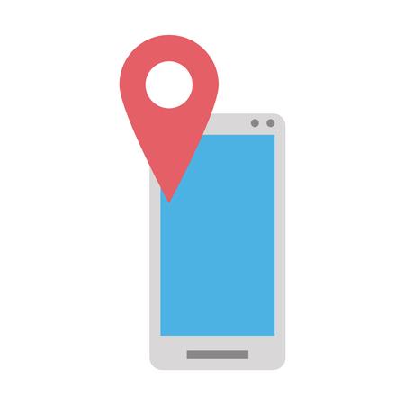 smartphone gps pin icon image vector illustration design