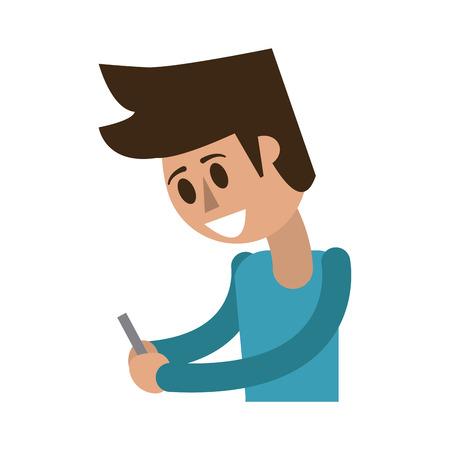Happy man using cellphone icon image vector illustration design