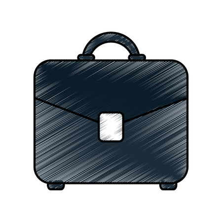 case: Colorful briefcase doodle over white background vector illustration