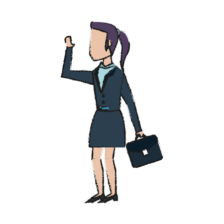 business team: Colorful businesswoman doodle over white background vector illustration