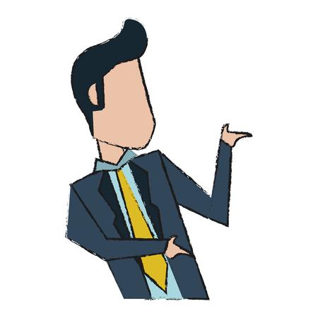 business team: Colorful businessman doodle over white background vector illustration Illustration