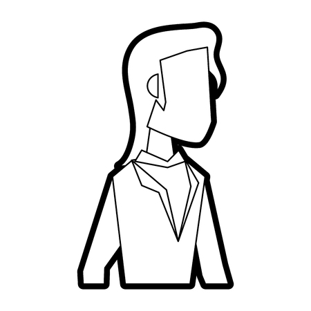 Flat line uncolored business woman over white background vector illustration