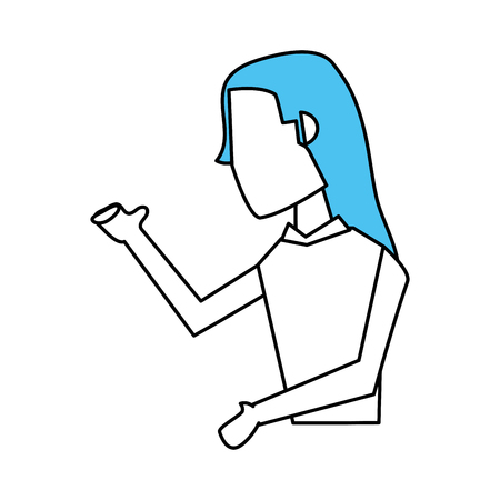 business team: Flat line business woman vector illustration