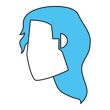 Flat line woman head vector illustration