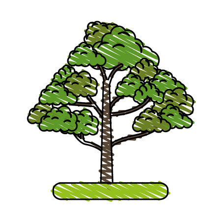 green environment: Colorful tree doodle vector illustration Illustration