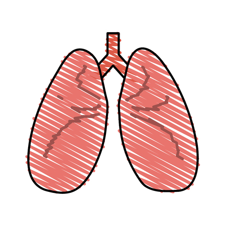 Colorful lungs doodle over white background vector illustration