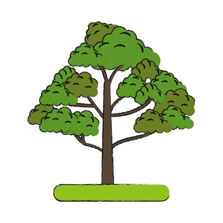 green environment: Colorful tree doodle over white background vector illustration