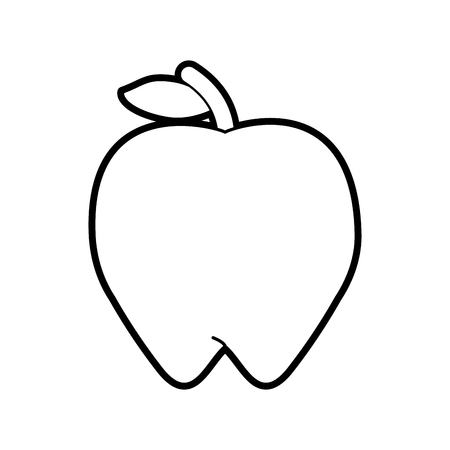 Flat line uncolored apple over white background vector illustration