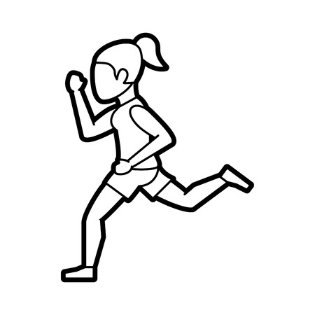 Flat line uncolored running woman over white background vector illustration Illustration