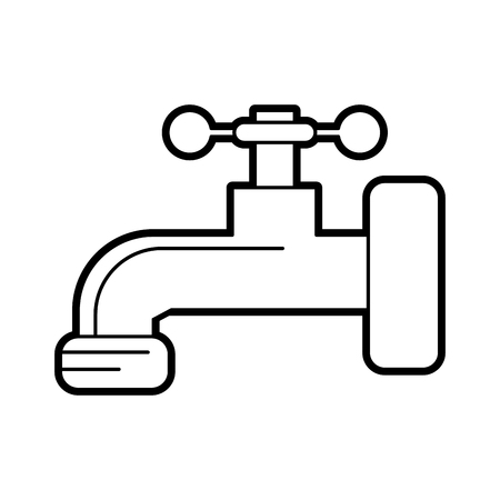 Flat line uncolored tap over white background vector illustration